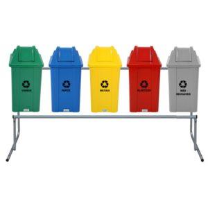 Conjunto de Lixeira para Coleta Seletiva de Resíduos Sólidos
